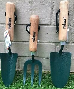 Rolson Heavy Duty Garden Tools Set 3pc Hand Trowel, Transplanting and Fork ""