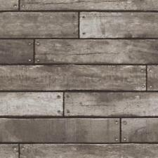 Dark Brown & Charcoal Wooden Plank Effect Wallpaper 10m - Fine Decor Wood Scuffs