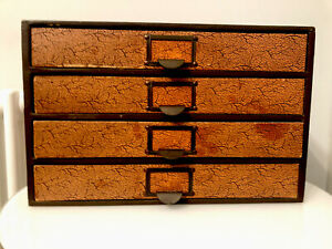 Antique Vintage Industrial Desktop Chest of 4 Drawers Stationery/Collectors