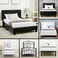 Twin Size Metal Bed Frame Upholstered Headboard Platform Kids Bedroom Furniture