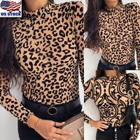 USA Womens Leopard Print High Collar Long Sleeve Shirt Tops Ladies Loose Blouse