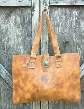 Handmade Dip Dye Leather BOHO HIPPIE Tote Shoulder Bag Brown Jade Stone UNIQUE
