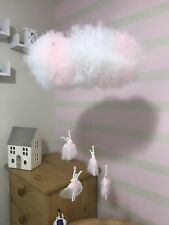 Baby Girl Cot Mobile Ballerina Nursery + Damage Free Stick On  Ceiling Hoock
