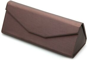 NEW Magnetic Brown Folding Triangular Eyeglasses Glasses Case w/ Cleaning Cloth
