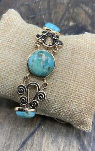 Barse Gallo Toggle Bracelet- Turquoise & Bronze- NWT