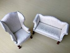 1:6Dollhouse Furniture Sofa & Chair Set With Carved leg For Barbie Doll New 2pcs