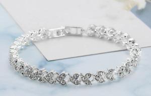 Made with Swarovski Elements Heart Shape Crystal Tennis Bracelet Valentines Gift