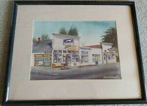 Mel Vincent Oregon Rustic Greyhound Bus Grocery Litho 1993 Watercolor Print