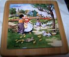 HOLLAND DUTCH TILE IN FRAME CHILDREN WITH GEESE AND DUCKS MADE IN HOLLAND BY TER