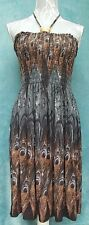 Ladies Sun Dress Ruched Size M Halter Neck Beaded Peacock Print Silky Soft Feel