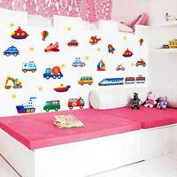 Cartoon Car Aircraft Ship Vinyl Wall Stickers For Kids Rooms Home Decor AU