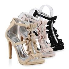 Damen Sandaletten Party High Heels Stiletto Riemchensandaletten 820334 Schuhe