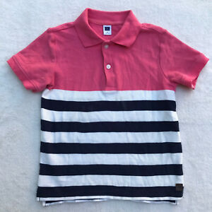 Janie & Jack Boys Striped Short Sleeve Polo Shirt Sz 5 NWT Blue White Pink EUC