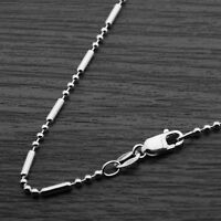 Genuine 925 Sterling Silver 1.5mm Ball Beaded Tube Chain Necklace