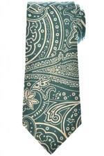Isaia Napoli 7 Fold Tie Linen Green Paisley 06TI0245 $230