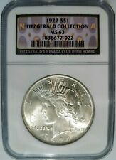 1922 Silver Peace Dollar Fitzgerald Collection NGC MS 63 Nevada Casino Hoard