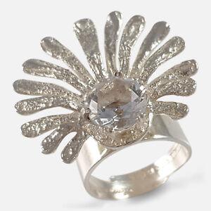 Theresia Hvorslev for Mema 1973 Sterling Silver & Rock Crystal Adjustable Ring