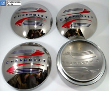 1941 1942 1946 1947 1948 Chevy Car Pickup Truck OE Clip Stainless Hubcaps Set/4