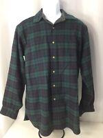 Vintage Pendleton Wool Blue Green Plaid Button Down Long Sleeve Shirt Size Large