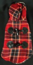 Red Plaid Hooded XS Dog Pet Coat with Black Toggles Adjustable Underneath Lined