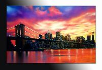 DIPINTO MODERNO ASTRATTO BROOKLYN CM 140x90 sunset manhattan abstract painting