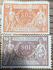 2  SELLOS  PORTUGAL  1920  PAQUETE POSTAL  USADOS