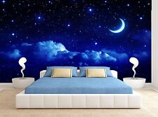 Moon Night Sky Stars Clouds Blue Wall Mural Photo Wallpaper GIANT WALL DECOR