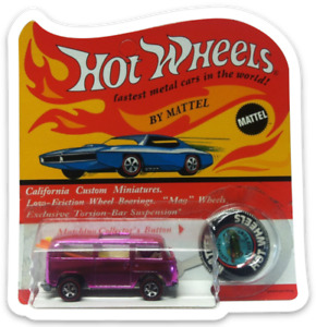 MAGNET for fridge Hot Wheels 1969 Rear Loading Beach Bomb Pink VW Bus NO CAR