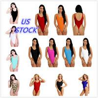 US Women Sleeveless High Cut Thong Lingerie Bodysuit Swimwear Swimsuit Monokini