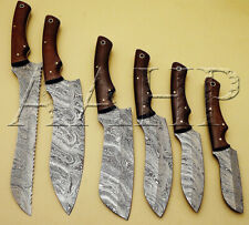 Aahp-99, 13,12,10,9, 8,7 In Chef Knife set with Black Micarta with Pins & Pipe
