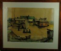 """Hauser? """"Wagendorf mit Personenstaffage"""" Federzeichnung, aquarelliert, 1937"""