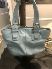 Coach Light Blue Leather Satchel