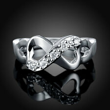 HOT 925 sterling Solid silver 8 words bow rings size8 #P191