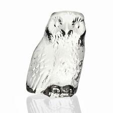 Lindshammar - Vintage Cast Glass Flatback Owl Figure - 1960s Swedish