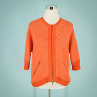 Cabi Size Small S Knit Cardigan Double Front Zip Sweater Round Neck Orange Top