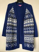 Woman Within Plus Size 1X(22/24) Blue 100% Acrylic Open Front Cardigan w/pockets