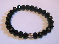 Great faceted black beaded elasticated bracelet small bronze tone metal heart