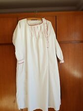 Vintage Alsace France Ladies Cotton Nightdress. Pintucks And Ruffles