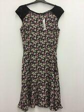 Warehouse ladies dress black floral lace panel skater size 10-12 sleeveless