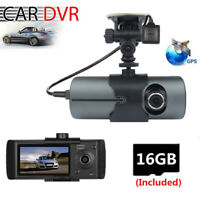 2.7 Inch Car Camera DVR Video Recorder Dash Cams Dual Lens GPS With 16G SD Card