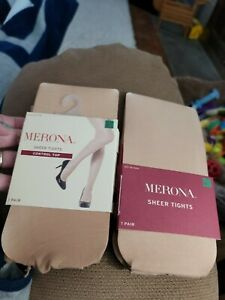 MERONA Womens  Nude Sheer Tights Control Top 2 Pairs Sz Med/Large~140-190 lbs