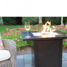 30' Steel Square Gas Fire Pit Table Propane with Cover, Glass Beads Elect Start
