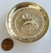 Superb Hallmarked Vintage Solid Silver Continental Pin Tray Dish Depicts - Stag