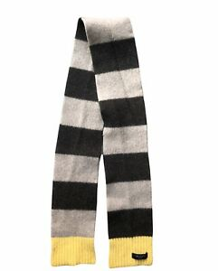 Mens Ted Baker Wool Cashmere Blend Scarf Soft Brown Striped 150cm Small Pull