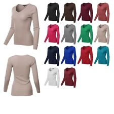 FashionOutfit Women's Solid Long Sleeve V-Neck Thermal Top (2 SET AVAILABLE)
