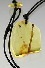 Large STALACTITE Genuine BALTIC AMBER Leather String Pendant 10.4g p161102-7