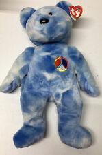 T Y  Beanie Buddies Collection Peace Symbol Bear Blue & White Rye Dye