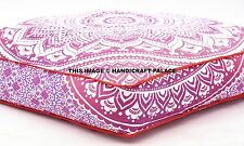 Indian Ombre Mandala Floor Pillow Pouf Cover Cotton Ottoman Square Cover Dog Bed