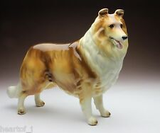 Sable & White Rough Collie Gloss Finish Porcelain Dog Figurine Japan New