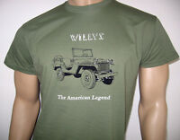 WILLYS JEEP T-SHIRT - 'The American Legend' MA Model - MB M38 M38A1  US Military